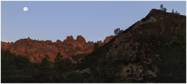 Pinnacles National Park, moon set, ephemeris