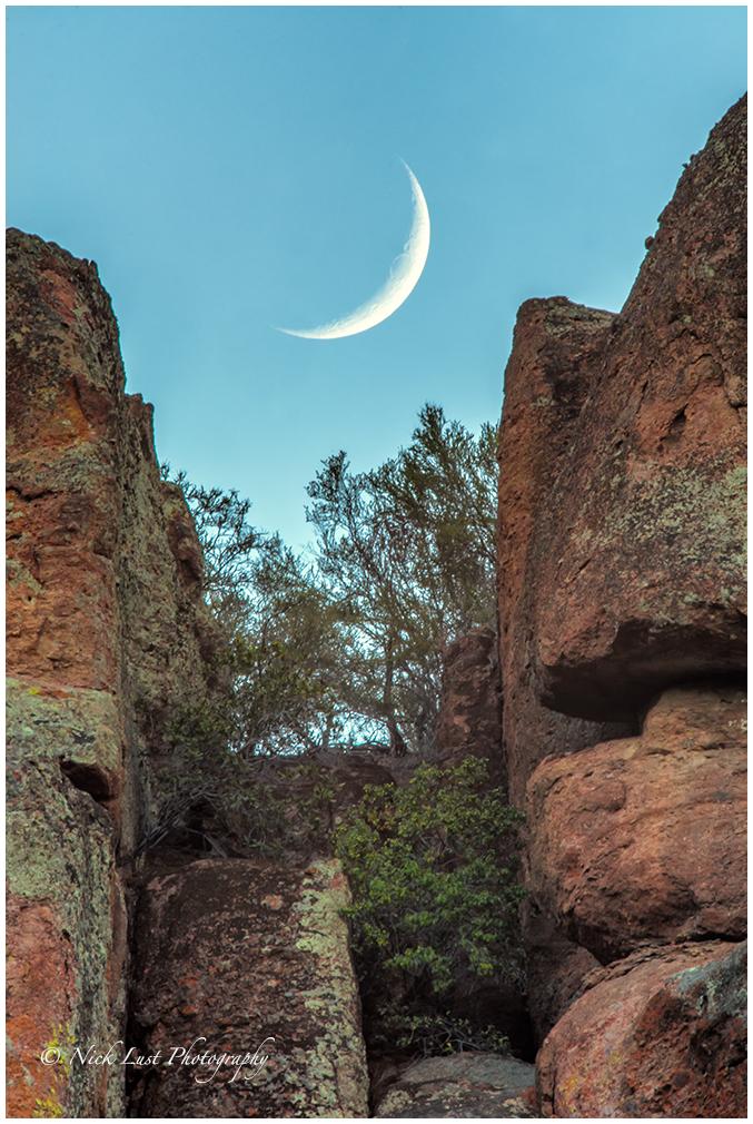 pinnacles national park, california, crescent moon