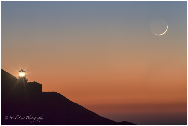 Big Sur, point sur lighthouse, crescent moonset