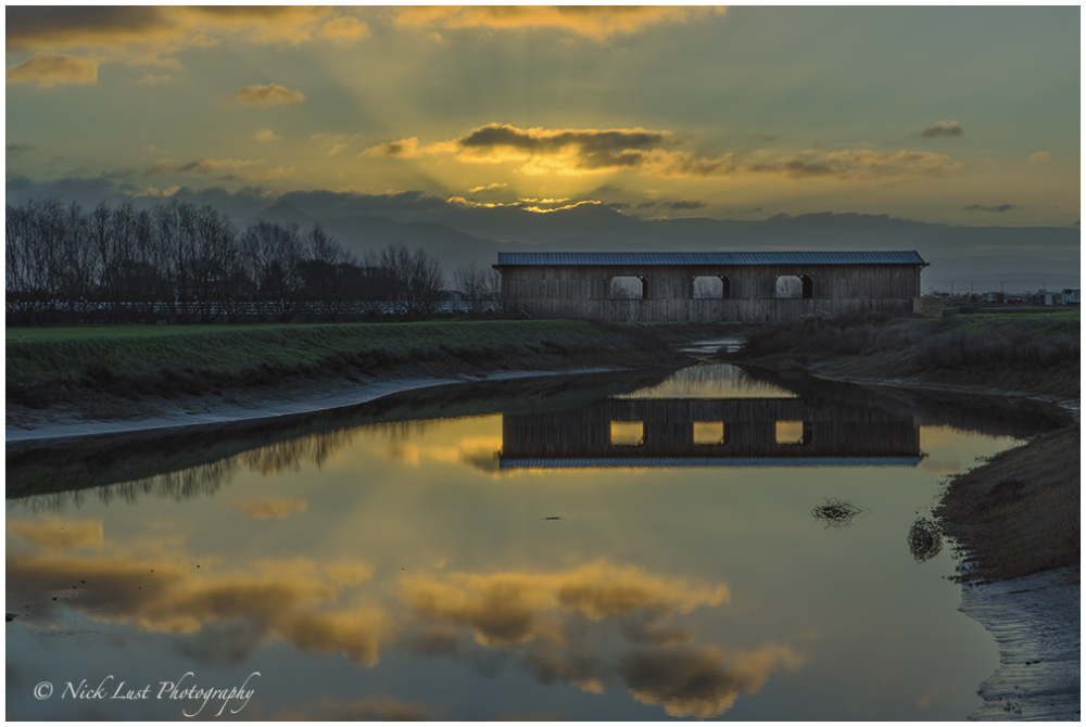 covered bridge, sunrise, san benito, california