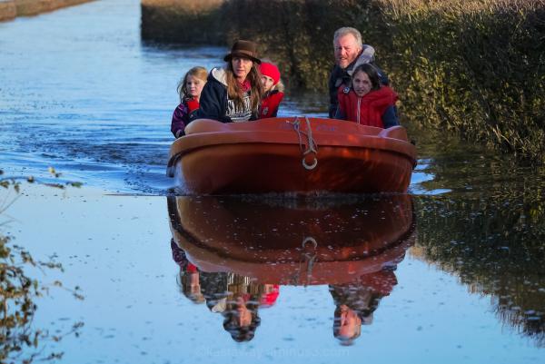 Muchelney floods boat  2014