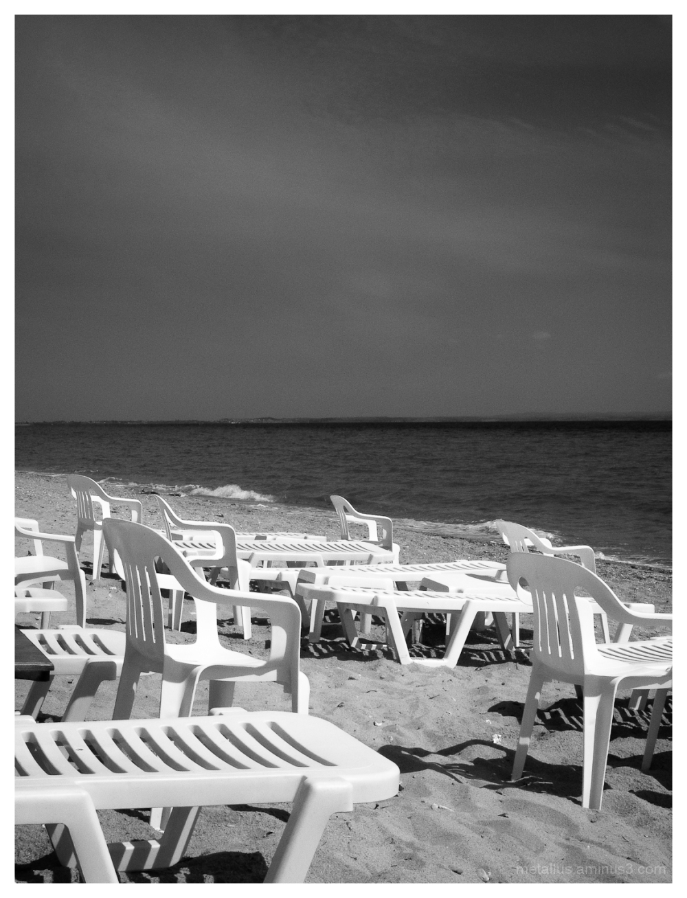 Beach chairs at Flogita, Chalkidiki, Greece 2004