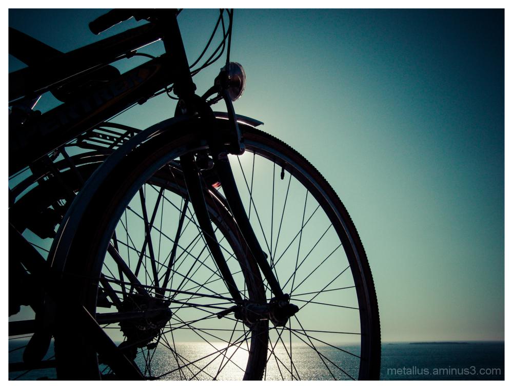 Two bikes by the sea, Crete, Greece