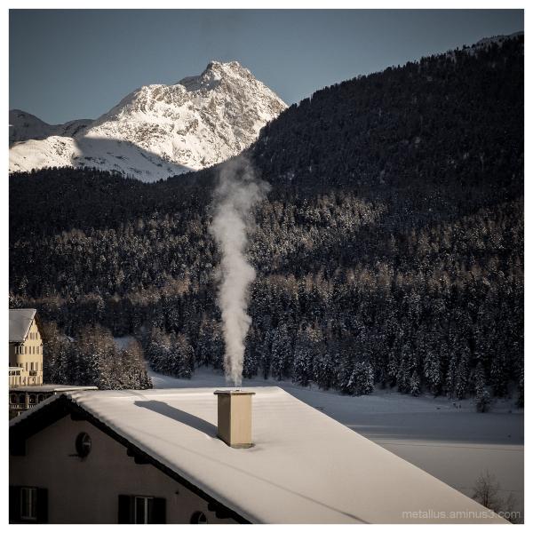 Smoky chimney at Saint Moritz Switzerland