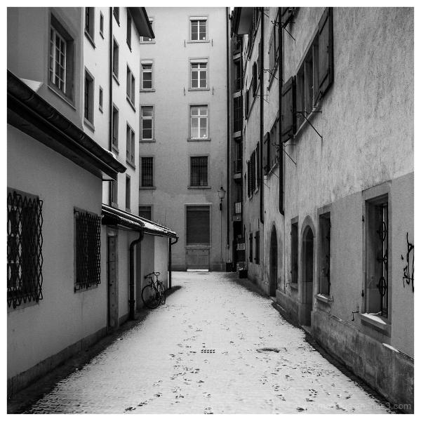 Footsteps on a snowy street at Zurich Switzerland