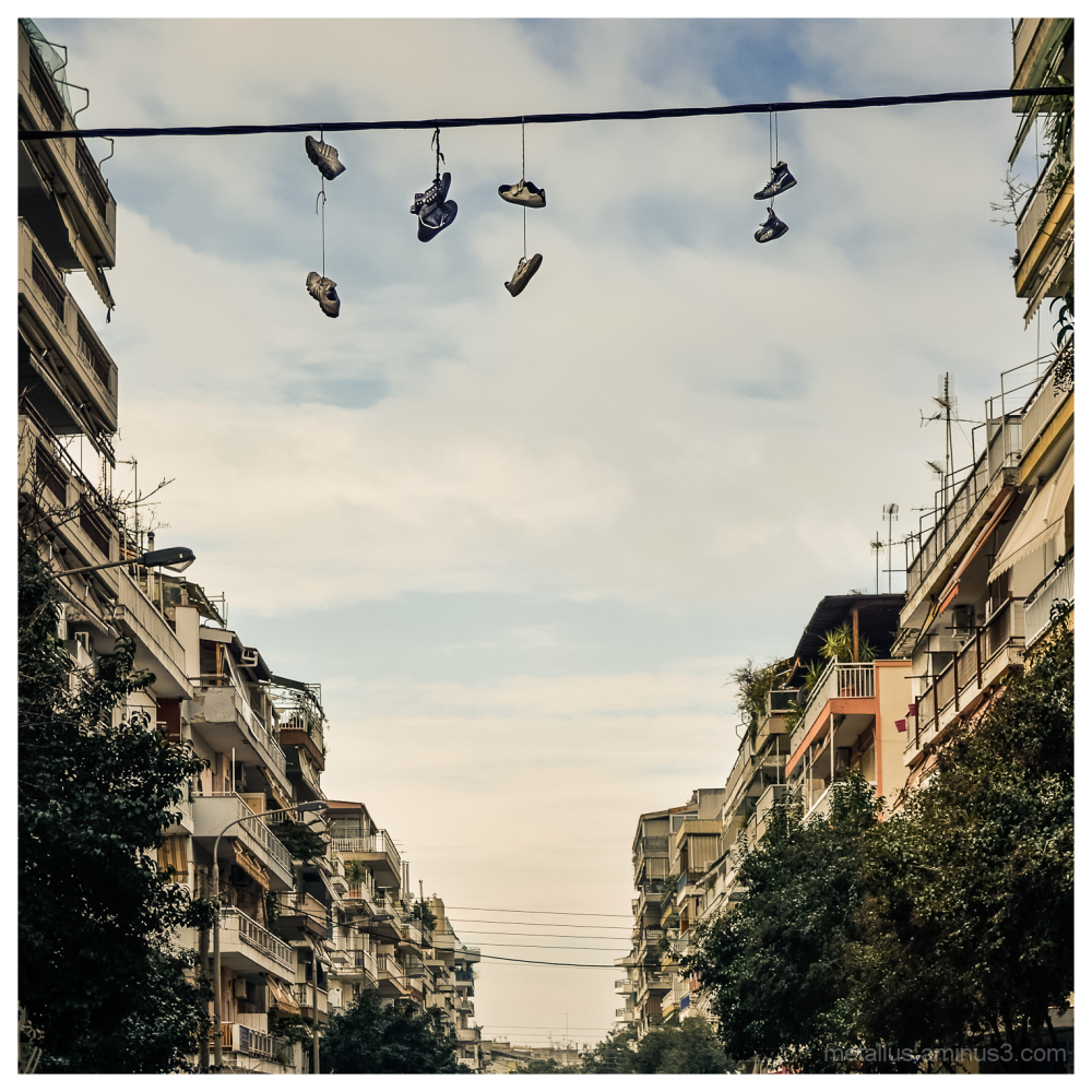 Hanging shoes, Thessaloniki, Greece 2013