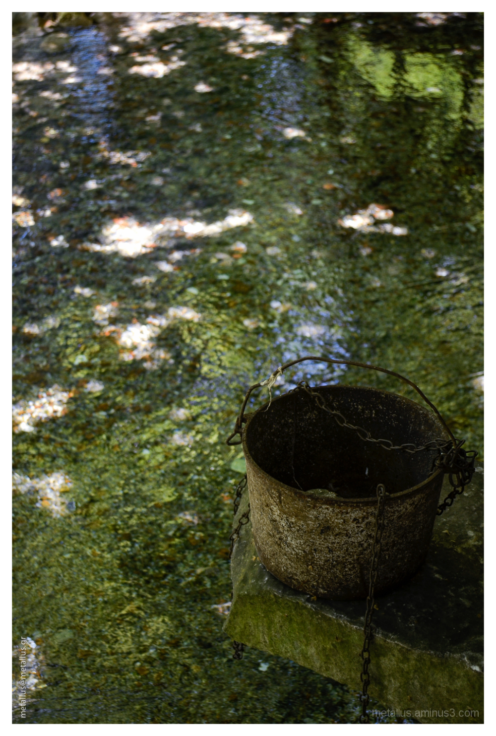 A bucket above a river at Drama, Greece