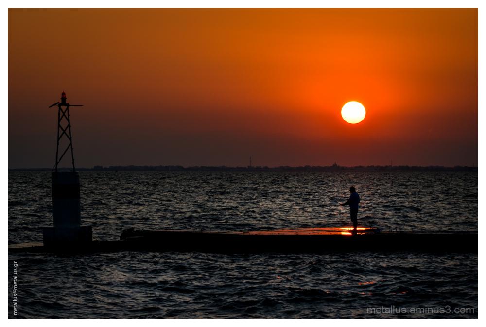 A fisherman at sunset, Thessaloniki, Greece