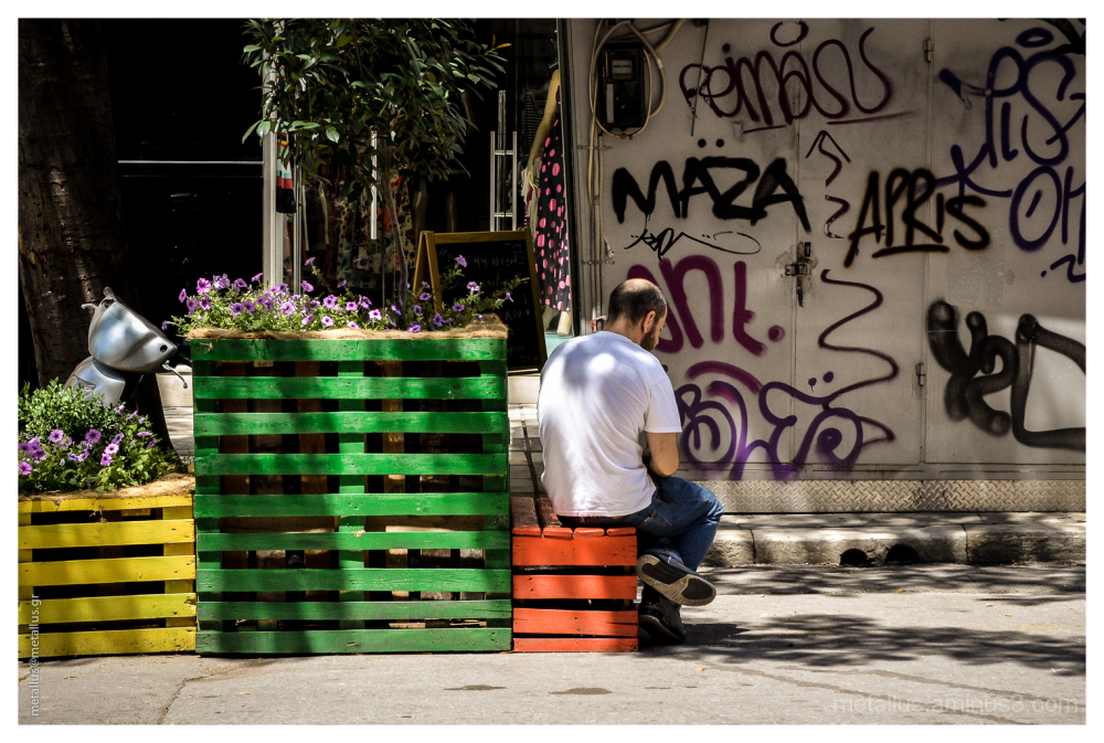 A man siting, Thessaloniki, Greece 2013