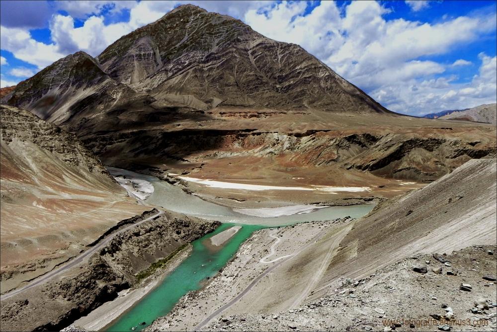 Sangam of Indus and Zanskar Rivers in Ladakh
