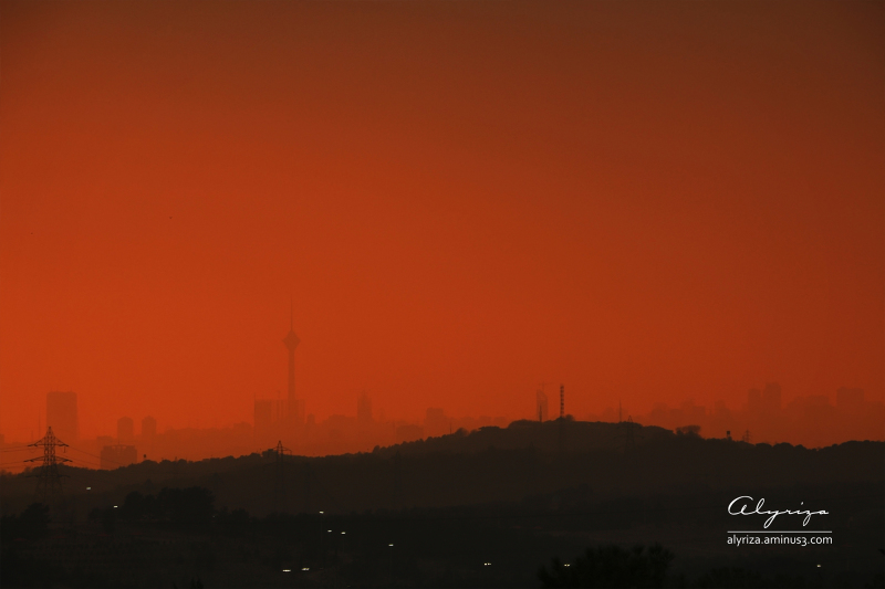 Sunset in air pollution