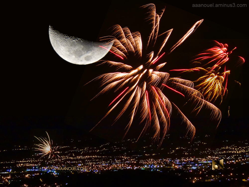 Christmas fireworks moon san jose costa rica