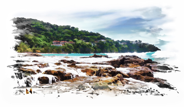 Aquarella on the rocks