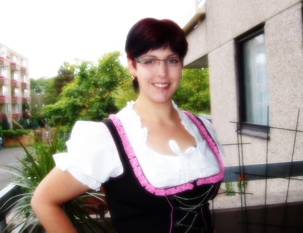 Young woman wearing a Dirndl Dress