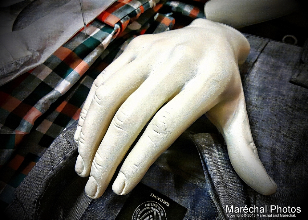 Cold hand in shop