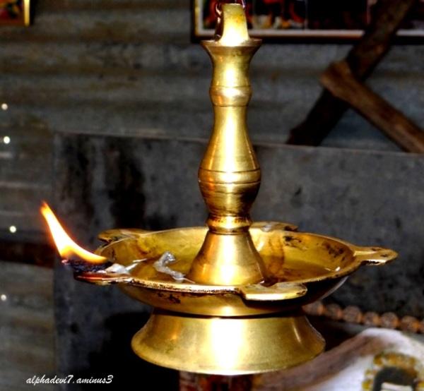 a bronze lamp