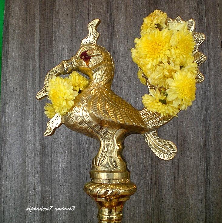 The gleaming bronze lamp