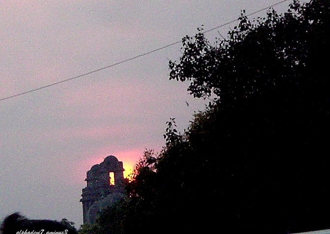Sunset over the buildings