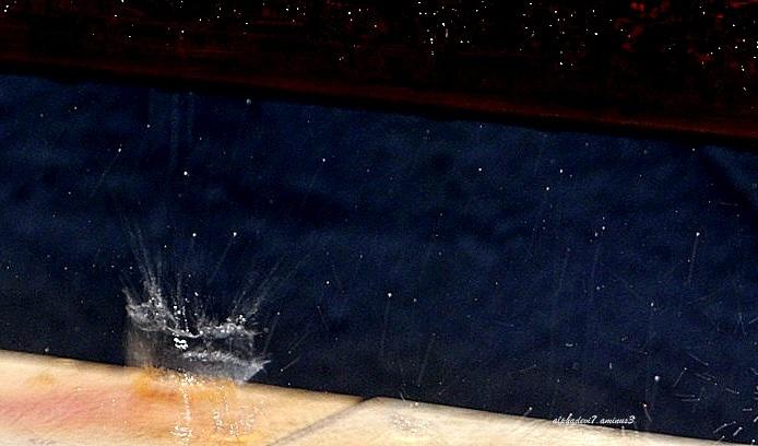 Rain water on the balcony sill