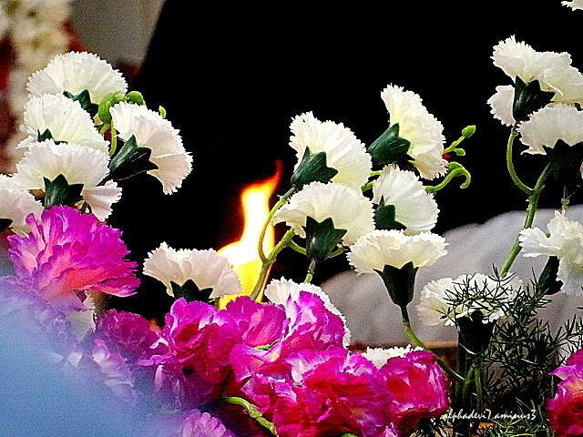 The sacred flame through the decor