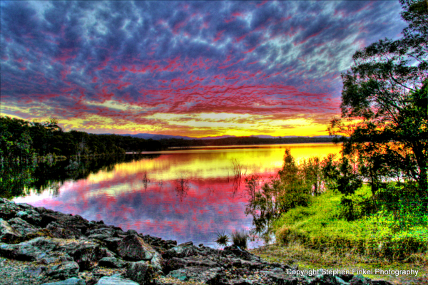 Very colourful sunset at north pine dam queensland
