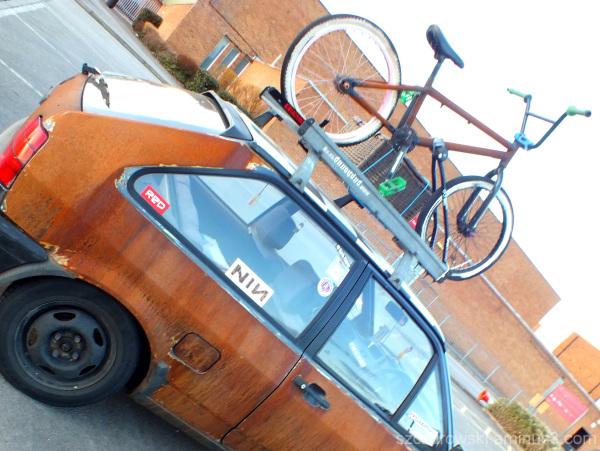 rusty car and bike