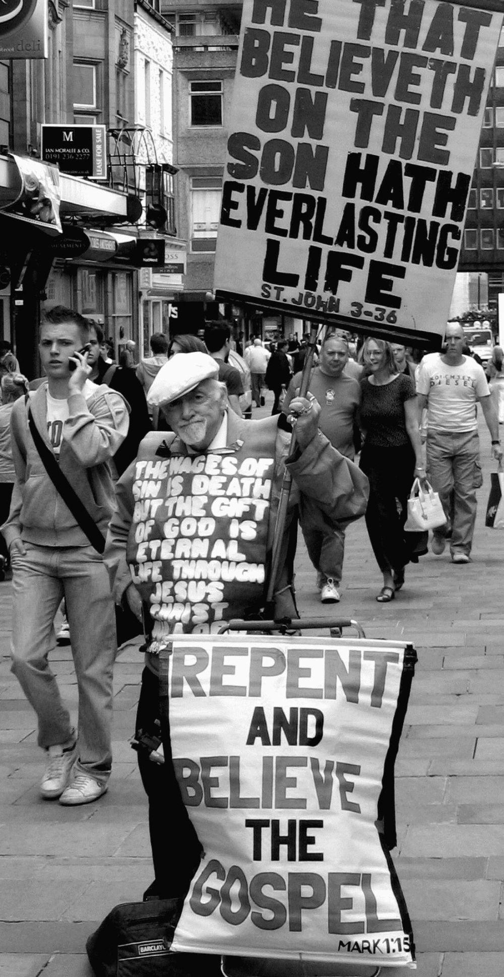 Preacher religion religlious street newcastle upon