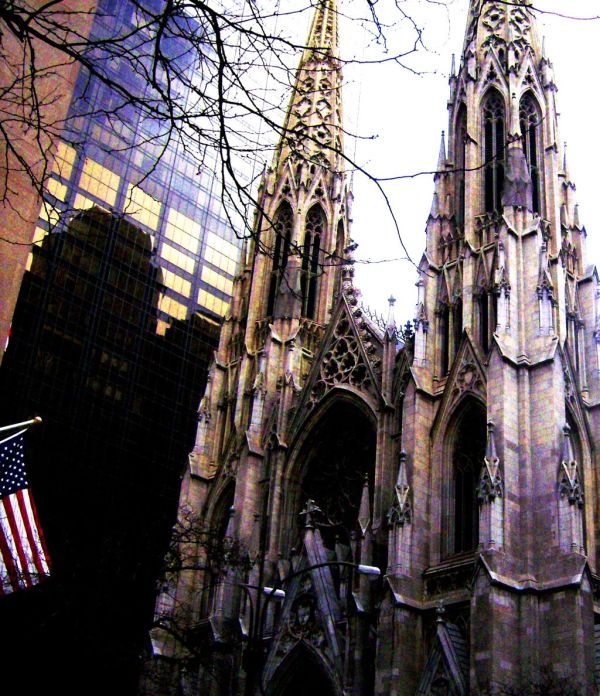 Church new york city religious american flag gothi