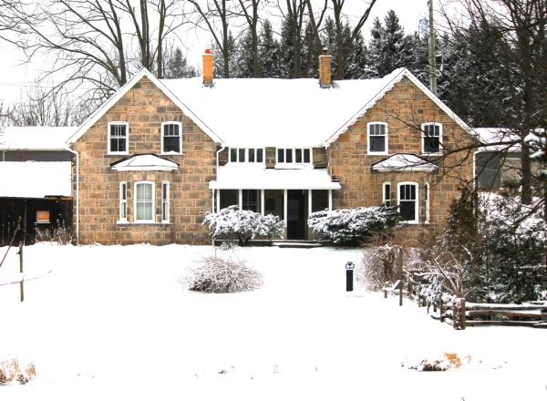 Old Stone house, Milton, Ontario, winter scene