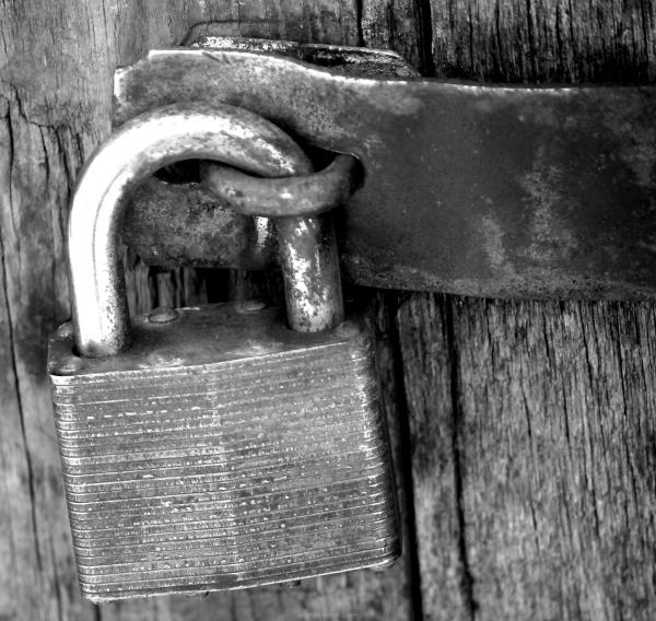 Lock, hinge, rust, black and Whiter