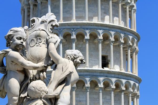 Leaning Tower oF Pisa, cherub, statue, Italy, Pisa