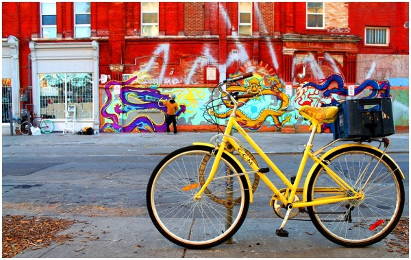 Bicycle, yellow street, street art, wall, Toronto,