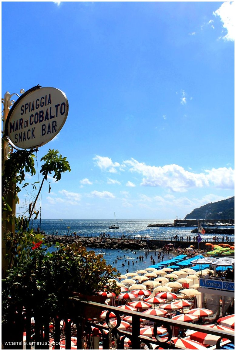 Beach, cafe, Sea, Amalfi, Italy