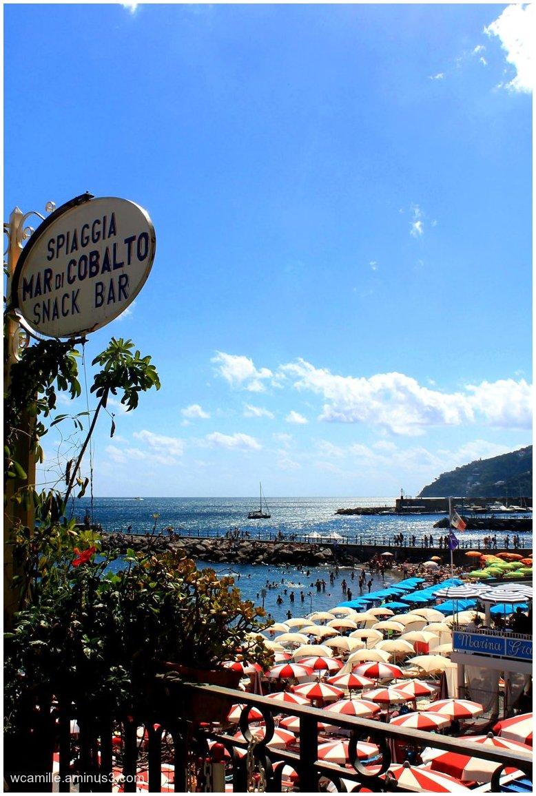 Beach, cafe, Sea, Amalfi, Italy