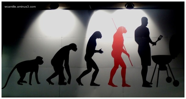 street art, advertisment, evolution, man barbeque