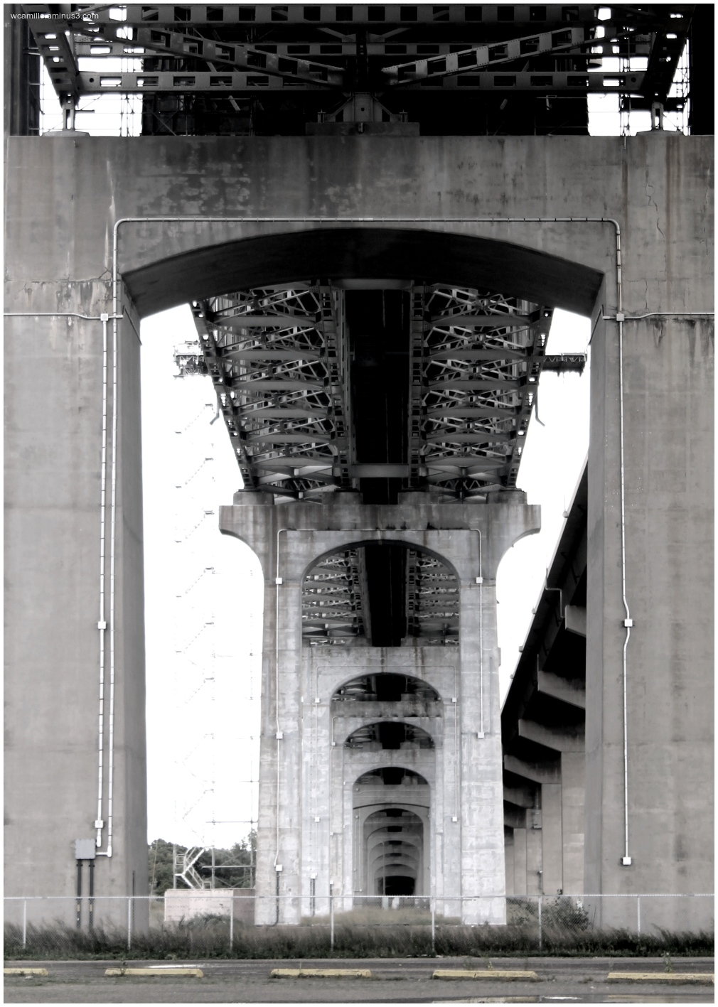 Burlington Skyway, Bridge, under, steele, concrete