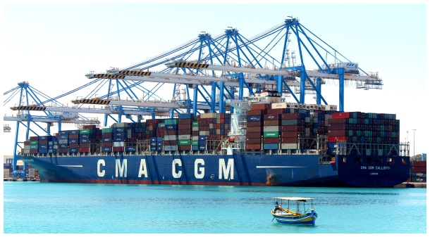 Malta, ship cargo, container, cgm, crane, port