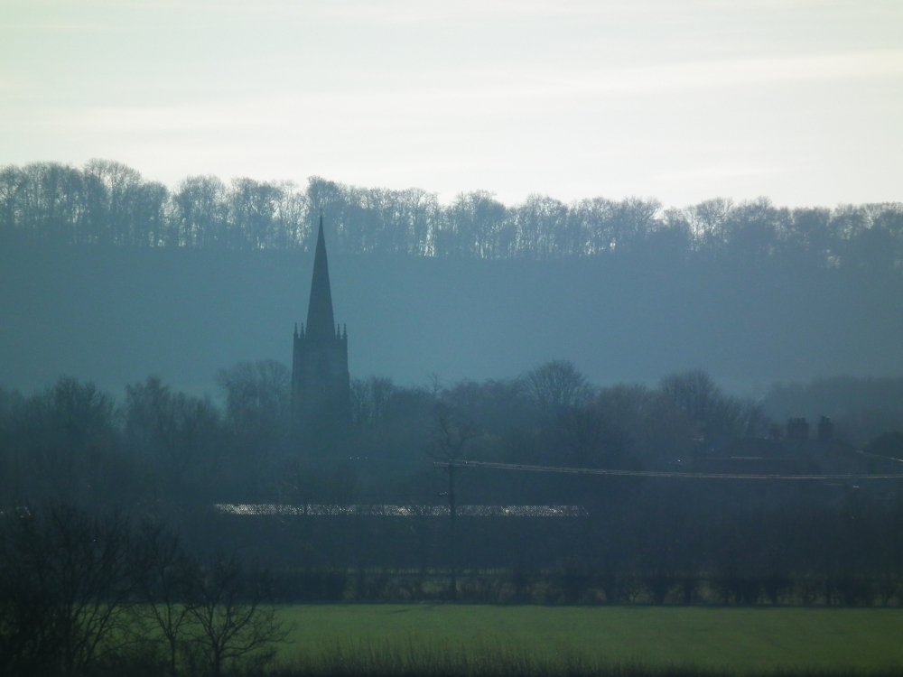 Church in the distance.