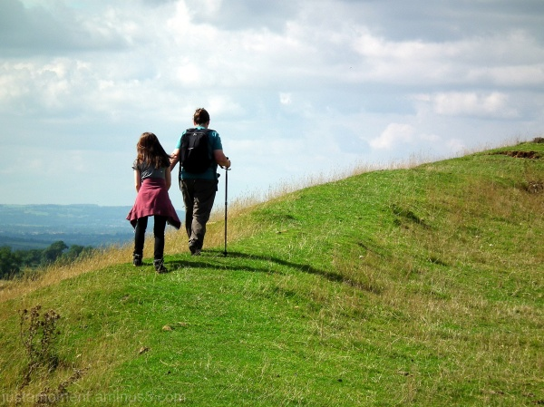 Burrough Hill - walking the ramparts.