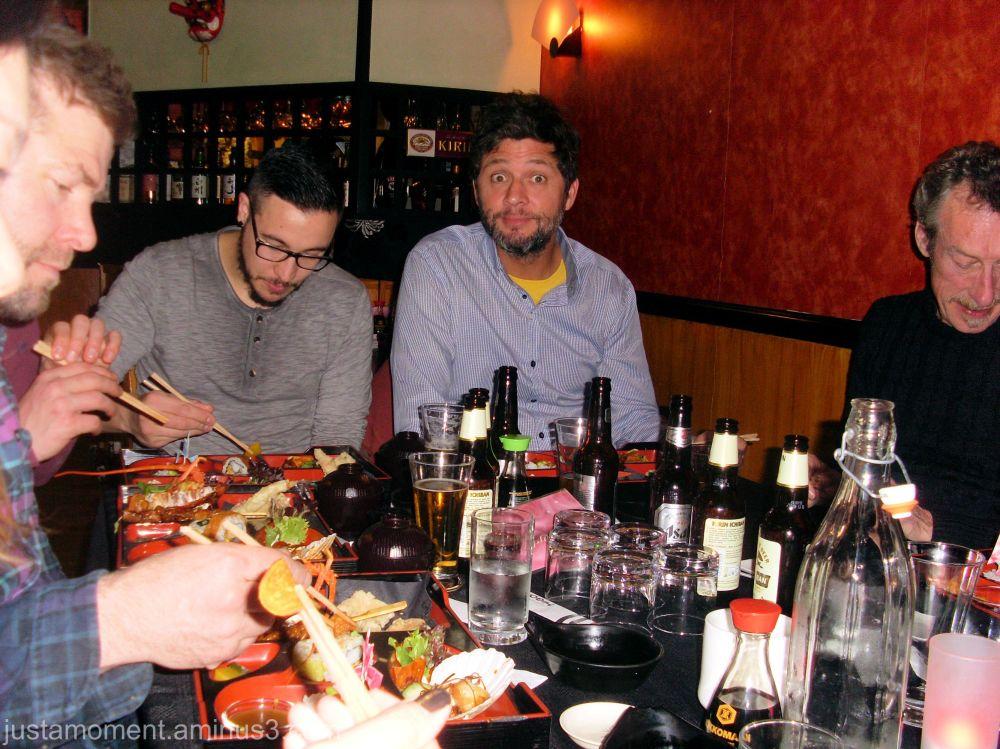 Eating Japanese style.
