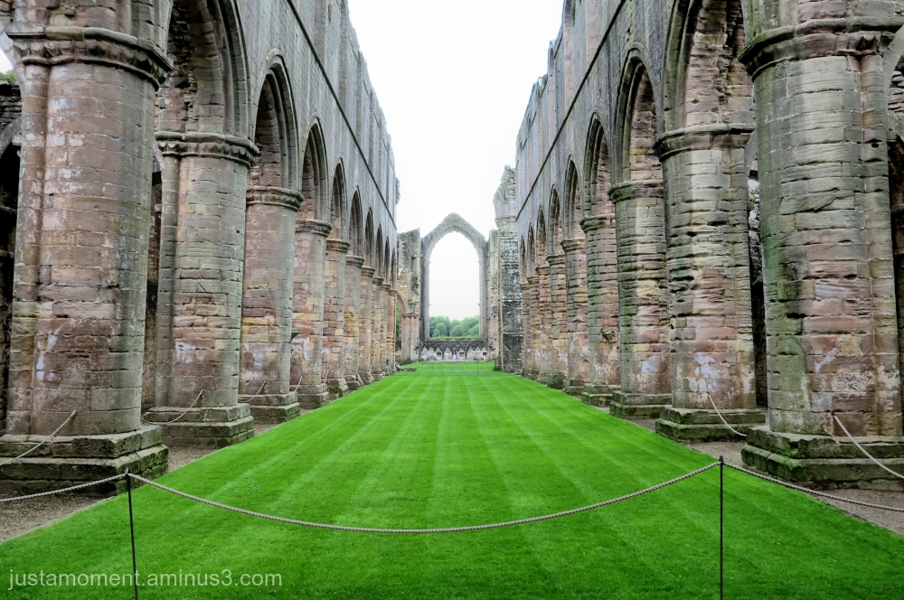 Fountains Abbey -  looking down the nave