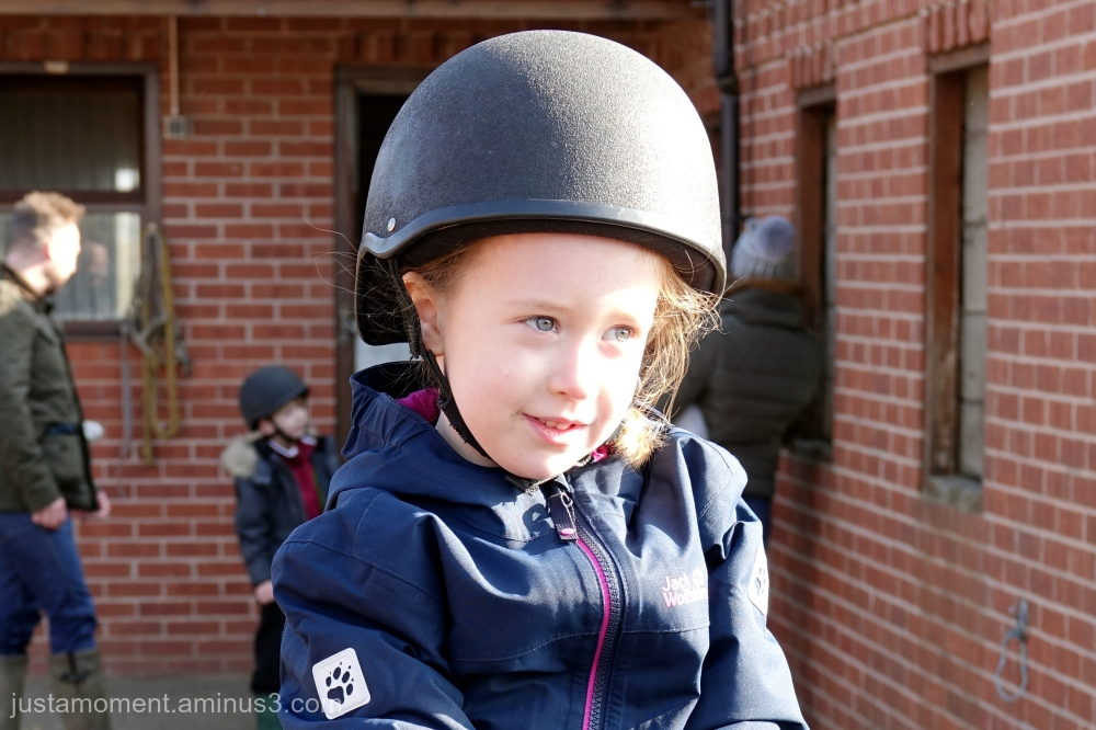 Lolas first riding lesson.