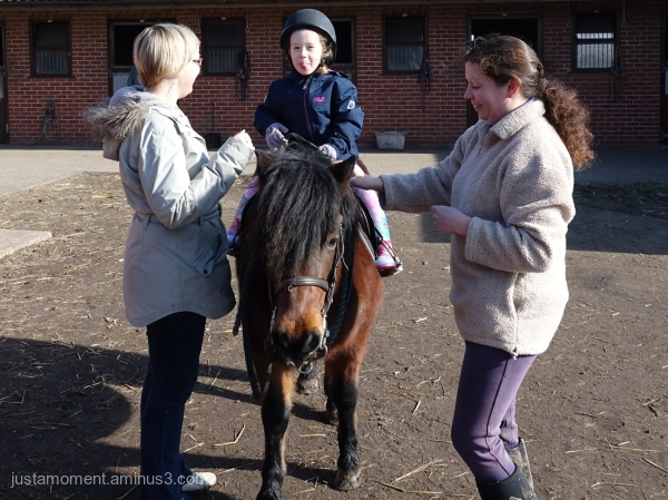 Lolas first riding lesson.