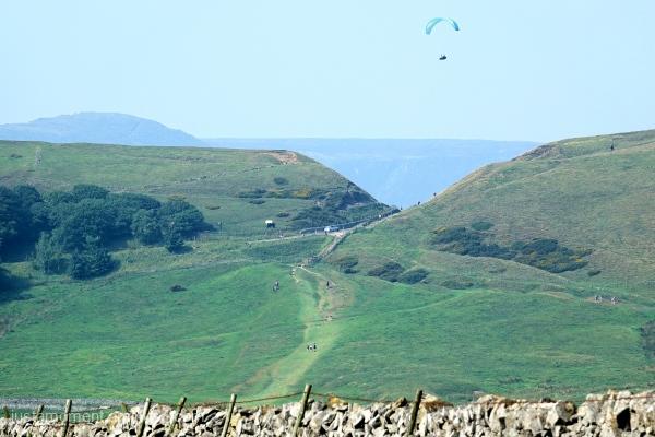 Paraglider over Mam Tor.