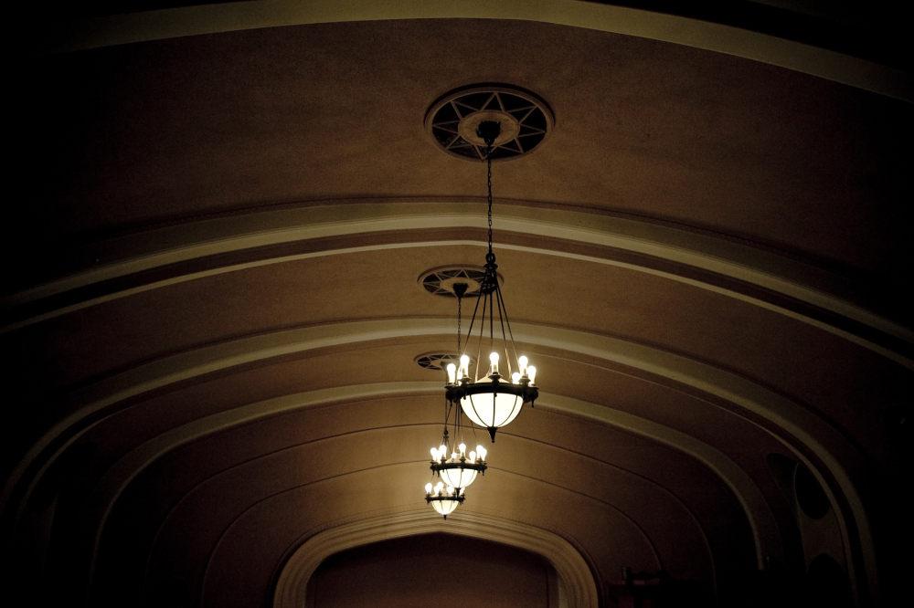 three ceiling lights