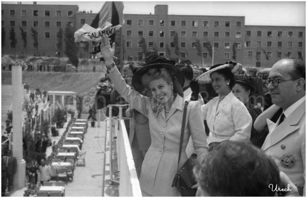 Eva Duarte de Peón visita Madrid en 1947