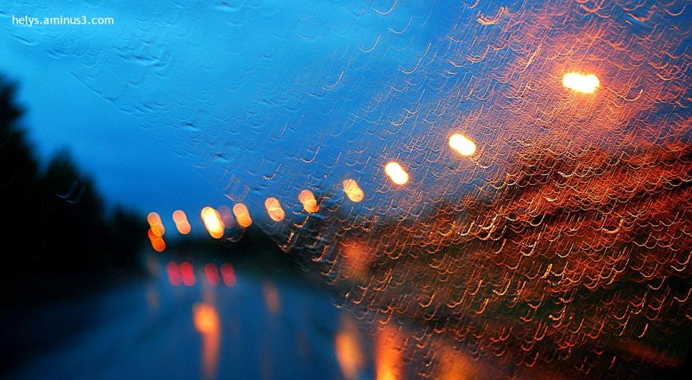 lights in a rainning night