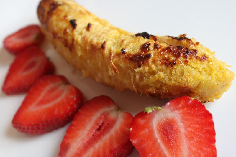 baked plantain and strawberries