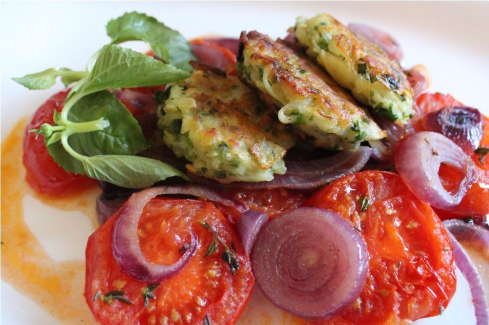 Zucchini croquettes in vegetable confits