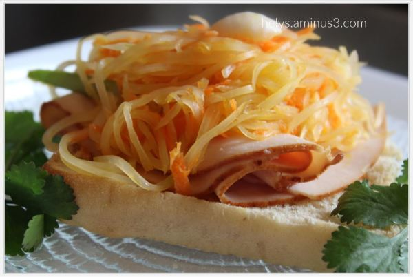 ham papaya salad sandwich